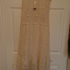 Long Ivory Crocheted Skirt